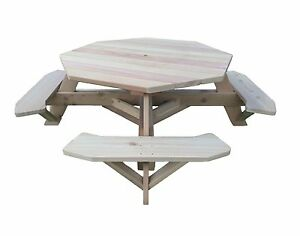 """61"""" Octagon Top Western Red Cedar Picnic Table w/Easy Seating"""
