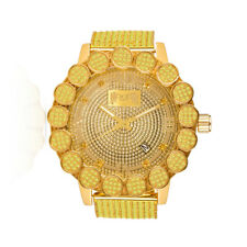 Roman Canary Gold Tone Watch Real Diamond Flower Bezel 10 Row Iced Custom Band