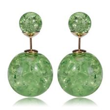 Zaras Green Pearl Cracked Double Sided Earrings 3 pair