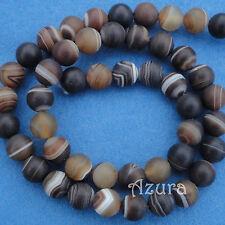 Matt Brown Stripe Agate Round Semi-Precious Gemstone Beads