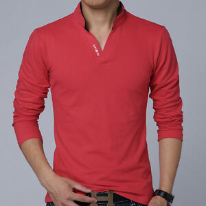 Solid Color Long Sleeve Slim Fit T Shirt Men Cotton T-Shirt Casual T Shirts T01