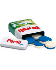 Wooden pretend role play toy (Erzi) play kitchen shop: Persil Tablets in a tin