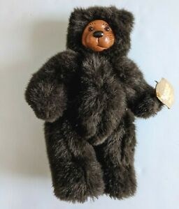 """Raikes Bears Cookie Jointed 11"""" 660330 Wood Face 1989 Original Applause Poseable"""