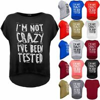 Plus Size Ladies Womens I'M NOT CRAZY Baggy Lagenlook Batwing Loose T-Shirt Top