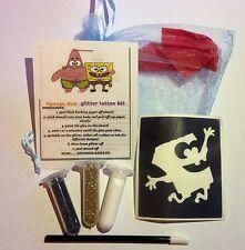 MINI GLITTER Tattoo Kit Party Bag Filler SPONGEBOB 2 brillantini 1 MIDI Stencil