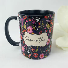 Personalised Skeleton Floral Halloween Name Coffee Tea Mug Gift 11oz Ceramic