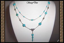 """** GENUINE TURQUOISE, STERLING DOUBLE ROW """"Y"""" NECKLACE (947)"""
