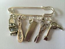 HAIRDRESSING INSPIRED Silver Tone Kilt Pin Brooch 5 charms Hairdresser gift bag