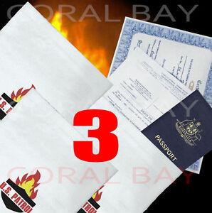 3x Large Fire Bushfire Resistant Document Passport Photo Bag Pouch 38.5 x 26cm
