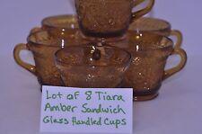 Lot of 8 Tiara Amber Sandwich Glass Handled Cups Coffee Tea Punch Indiana Glass