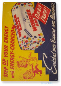 TIN SIGN Wonder Bread Energy Metal Décor Art Kitchen Cottage Farm Store A690
