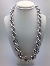 "Sterling Silver Hollow 17"" Graduated Twisted Rope Chain Necklace 9mm-16mm, 77 g"