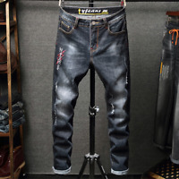 Mens Ripped Biker Skinny Jeans Destroyed Trousers Casual Denim Pants Patched US