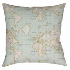 HANDMADE cushion cover Use world map duck egg designer cotton curtain Fabric