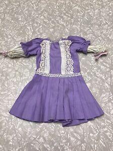 Vintage Doll Dress Ideal Vogue Bisque French German Victorian Drop Waist Purple