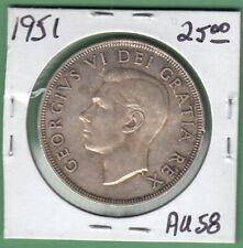 1951 Canadian One Silver Dollar Coin - AU-58