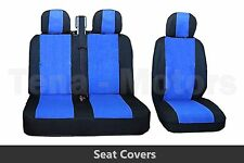 2+1 Front Seat Covers + Headrest Black / Blue FOR OPEL VAUXHALL VIVARO MOVANO