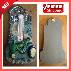 John Deere Resin Thermometer Decorative Farm Barn Tractor Country Scene Advertis