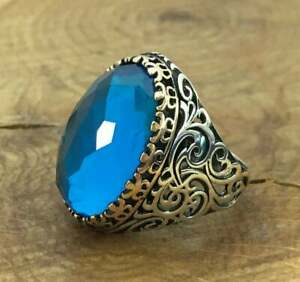 925 Sterling Silver 6Ct Aquamarine Gemstone Handmade March birthstone Men's Ring