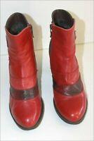 LAURA VITA Bottines Boots Cuir Rouge Foncé Lanières Motifs Reptile T 37 TBE
