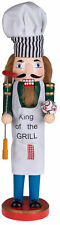 Christmas Nutcracker King Of The Grill Wearing Apron And Chef's Hat 15 in. Decor