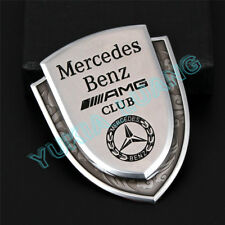 Silver AMG Club Logo Car Body Emblem Alloy Sticker for Mercedes-Benz A C E S G