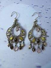 Liz Claiborne Silver Tone Dangle Earrings With Amber & Pink Crystals