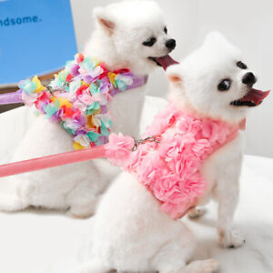 Cute Flowers Lace Pet Dog Harness and Leash Puppy Cat Chest Strap Vest Harnesses