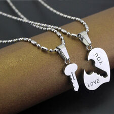 Lover Necklaces Stainless Steel Couple Matching Key Hearts Pendant cart #H8