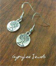 Small Tree of Life Earrings ♡ Silver Hook Bohemia Festival Yoga Gypsy Delicate