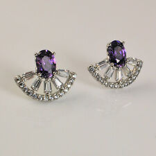 White Gold Filled Purple & Clear Swarovski® Crystals Cluster Stud Earrings 247
