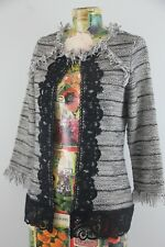 Chicos Open Blazer Black White Stripe Size 0 US 4 Small Womens Fringe Jacket