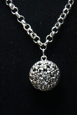 Floral Themed Pewter Pendant Rhodium Chain Necklace 18""