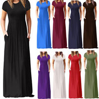 Womens Summer Loose Short Sleeve Casual Loose Party Long Oversize Maxi Dress