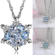 Women Crystal Snowflake Sea Blue Frozen Flower Silver Necklace Pendant Chain