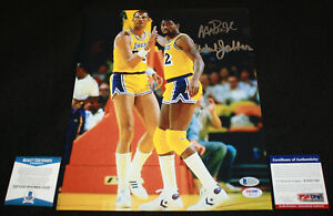 Magic Johnson Kareem Abdul Jabbar signed 11 x 14, Lakers, Beckett BAS, PSA/DNA