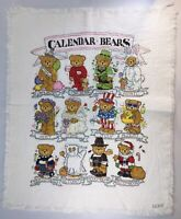 Calendar Bears Counted Cross Stitch Completed Needlework