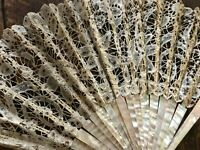 Early 20th century fan Bruges lace & mother of pearl