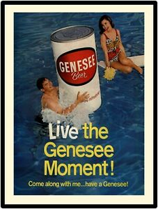 "Vintage 1960s Style Genesee Beer  New Metal Sign: ""Live the Genesee Moment!"""