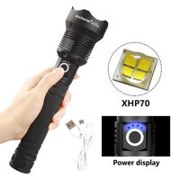 200000 Lumens XHP70 40W LED USB Rechargeable Flashlight Focus Torch Super Bright