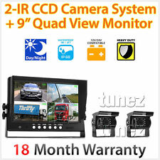 "2 x Waterproof CCD Reversing Camera 4Pin + 9"" Monitor Caravan Rear View Kit 24V"