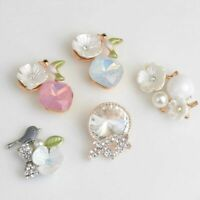 10pcs Crystal Pearl Flower Flatback Buttons for Wedding Craft Embellishment DIY