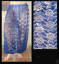 Harem Pants Belly Dance Lace Blue w/ Silver & Gold Floral Pattern