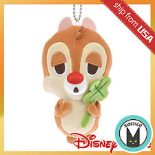 Japan Disney Store Sleepy Eyes Dale Plush Keychain Mascot Charm Four-leaf clover