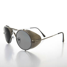 Gun Metal Steampunk Sunglass with Folding Side Shields Gray Lens - Bram