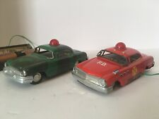 TWO VINTAGE 1960S MARX LINEMAR TIN BATTERY LIGHT UP CAR TOYS, FIRE CHIEF & CAMO