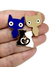 Pin in Blue, Beige, Blue and White Set of 3 Little Cats Kitten Enameled Lapel