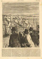 Athletic Sports At Brompton, England, Running Hurdles, w/text Vintage 1871 Print