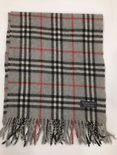 Genuine Burberrys Classic Check Grey 100% Lambswool vintage winter scarf scarves