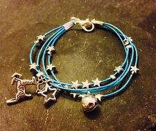 Silver Plated Star Cord Bracelet Pendant Charms Christmas Reindeer Blue